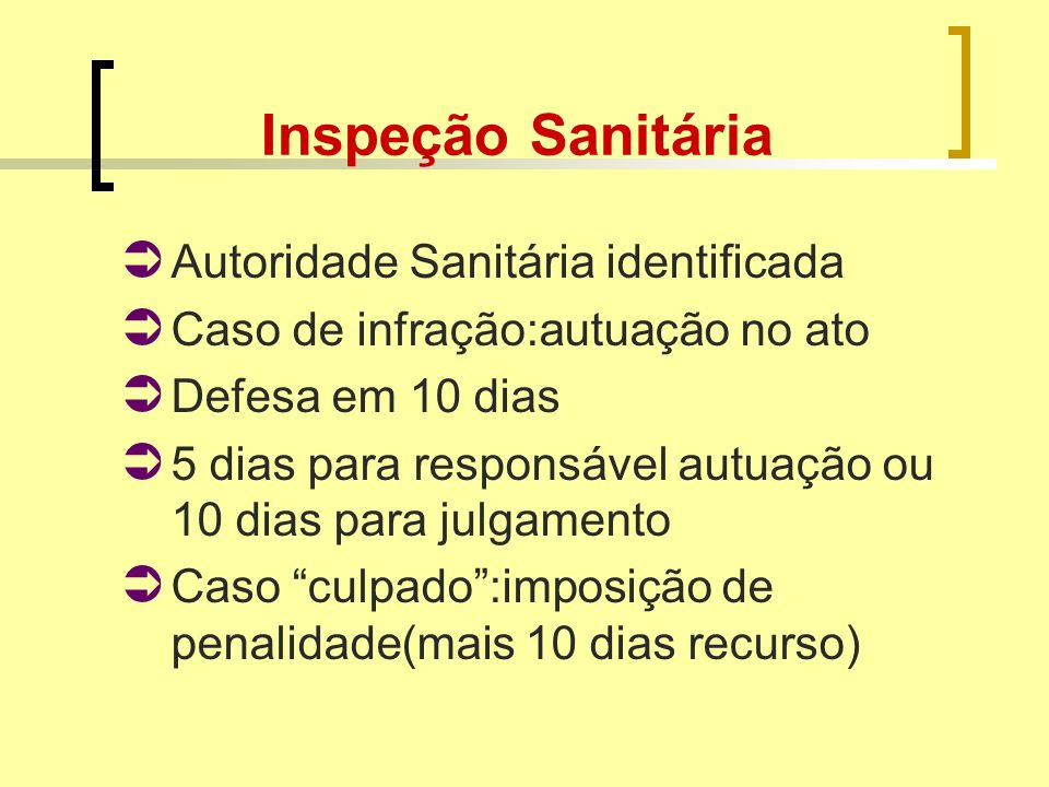 Inspeção Sanitária Autoridade Sanitária identificada