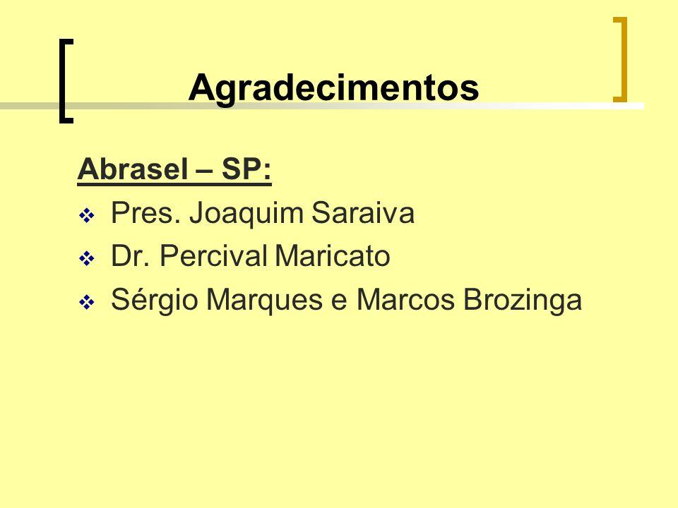 Agradecimentos Abrasel – SP: Pres. Joaquim Saraiva