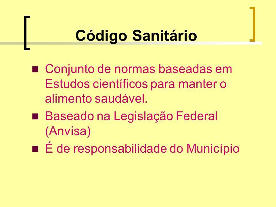 Código SanitárioConjunto de normas baseadas em Estudos científicos para manter o alimento saudável.