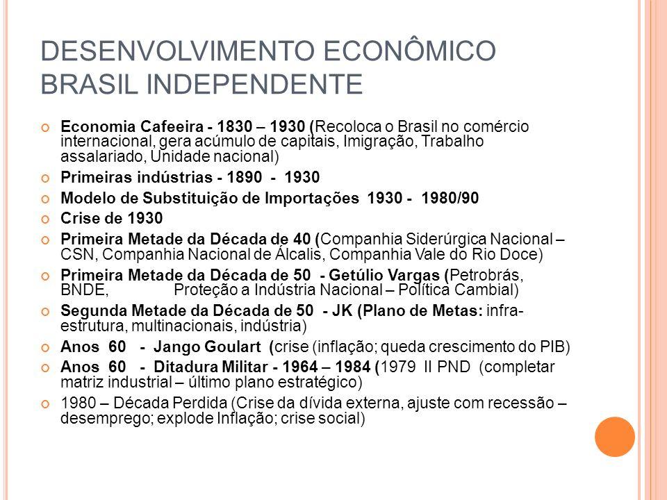 DESENVOLVIMENTO ECONÔMICO BRASIL INDEPENDENTE