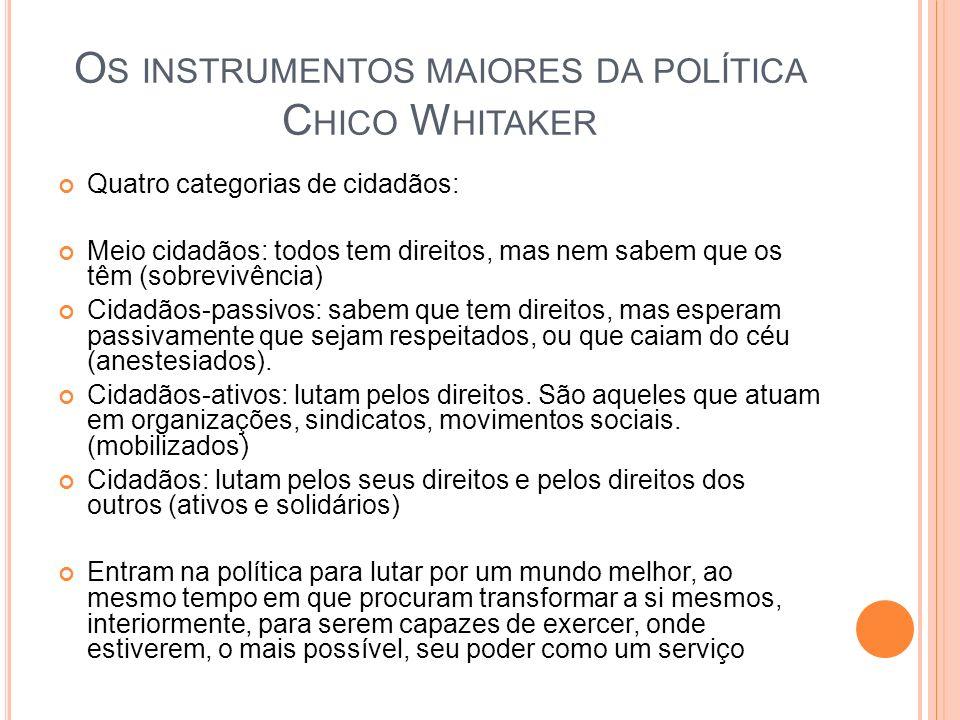 Os instrumentos maiores da política Chico Whitaker
