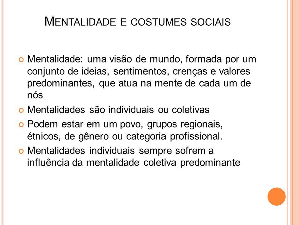 Mentalidade e costumes sociais