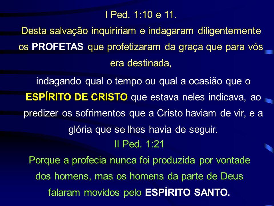 I Ped. 1:10 e 11. Desta salvação inquiririam e indagaram diligentemente os PROFETAS que profetizaram da graça que para vós era destinada,