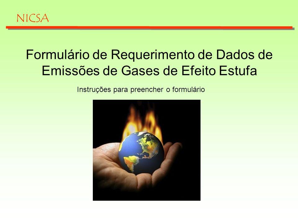 NICSA Formulário de Requerimento de Dados de Emissões de Gases de Efeito Estufa.