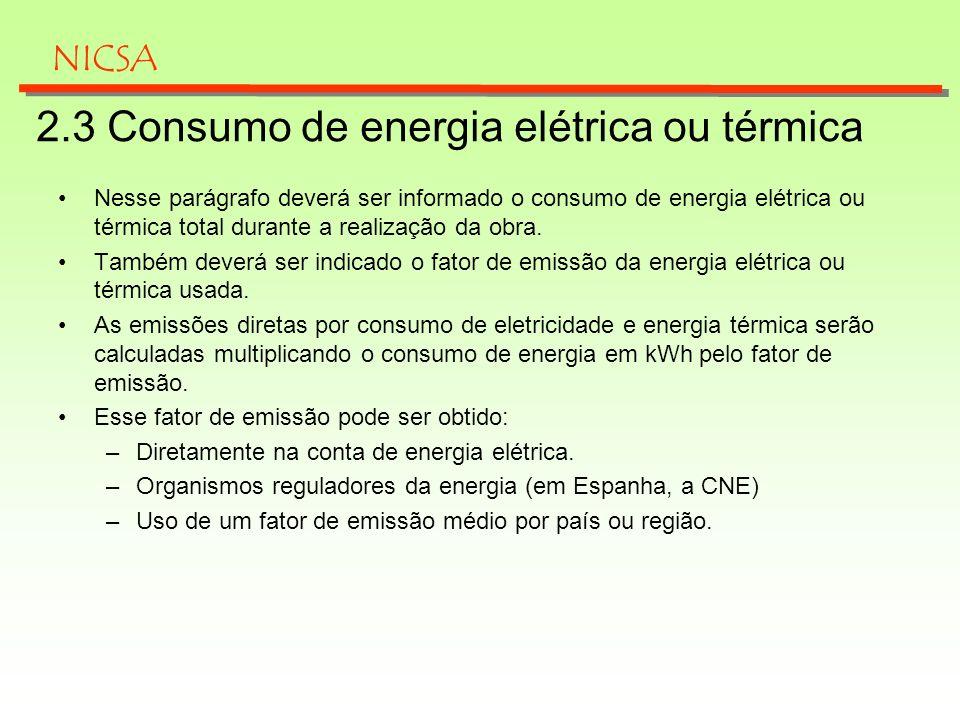 2.3 Consumo de energia elétrica ou térmica
