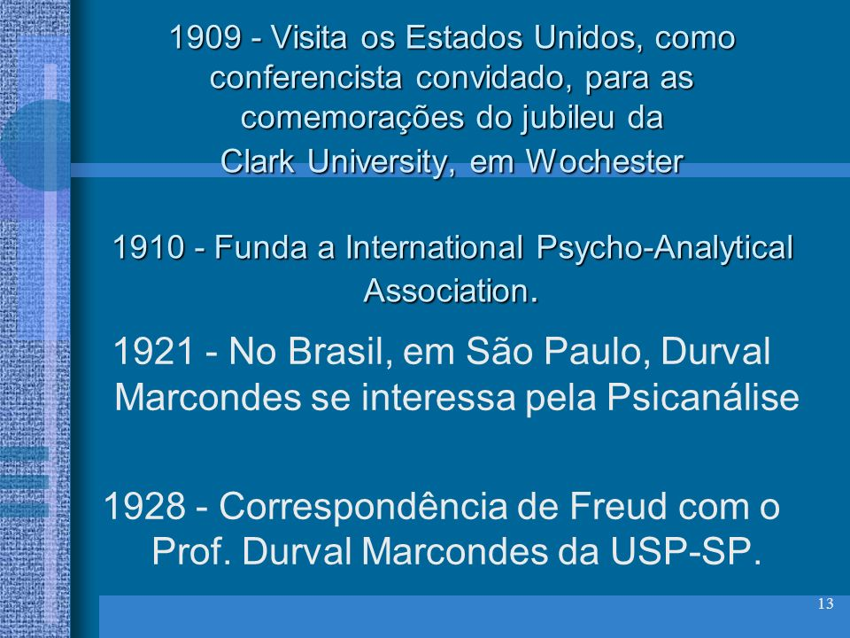 1909 - Visita os Estados Unidos, como conferencista convidado, para as comemorações do jubileu da Clark University, em Wochester 1910 - Funda a International Psycho-Analytical Association.