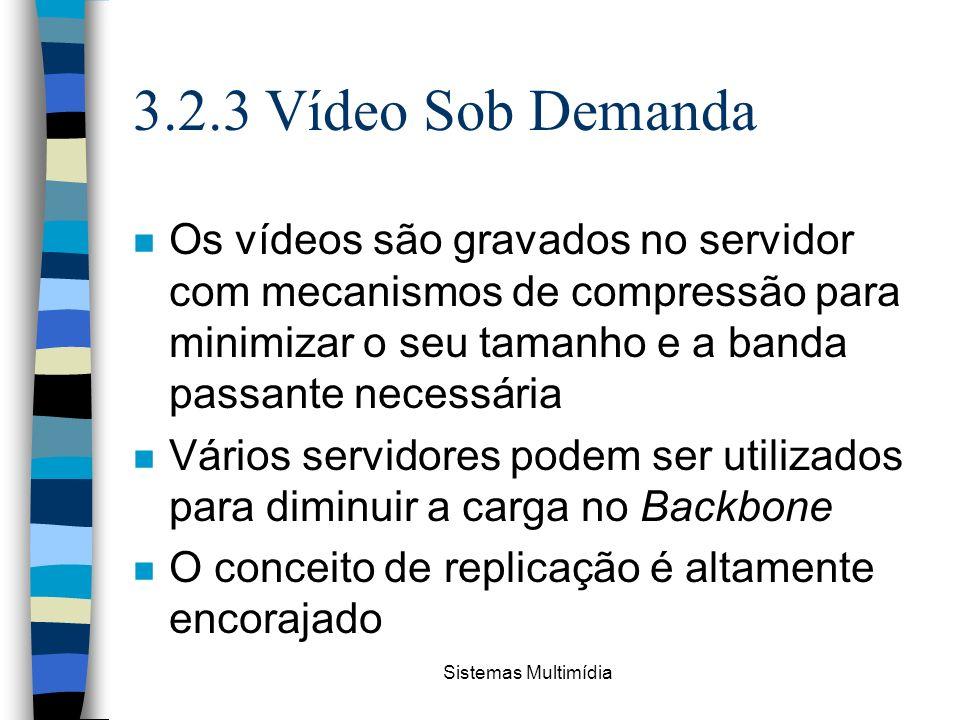 3.2.3 Vídeo Sob Demanda Os vídeos são gravados no servidor com mecanismos de compressão para minimizar o seu tamanho e a banda passante necessária.