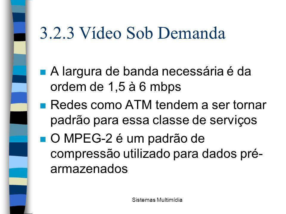 3.2.3 Vídeo Sob Demanda A largura de banda necessária é da ordem de 1,5 à 6 mbps.