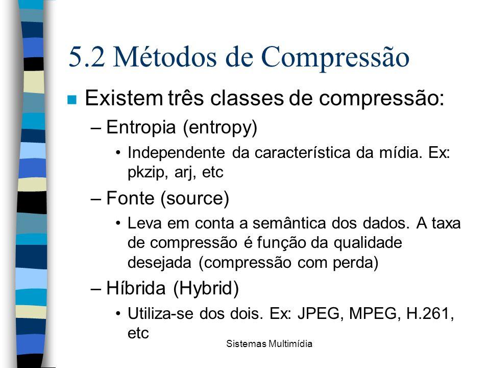 5.2 Métodos de Compressão Existem três classes de compressão: