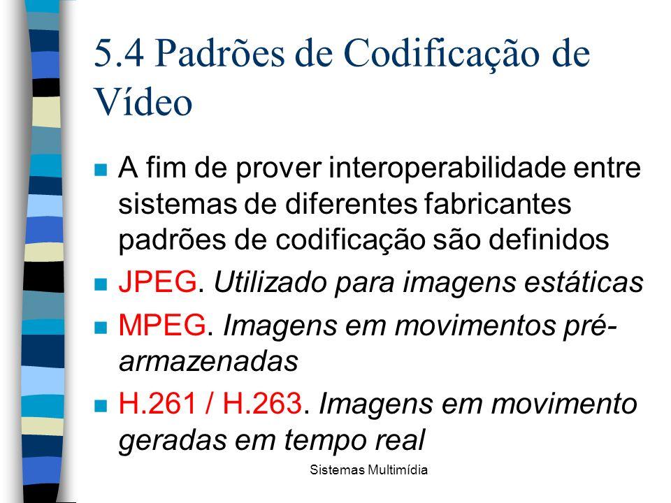 5.4 Padrões de Codificação de Vídeo