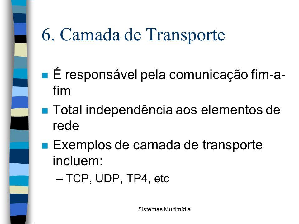 6. Camada de Transporte É responsável pela comunicação fim-a-fim