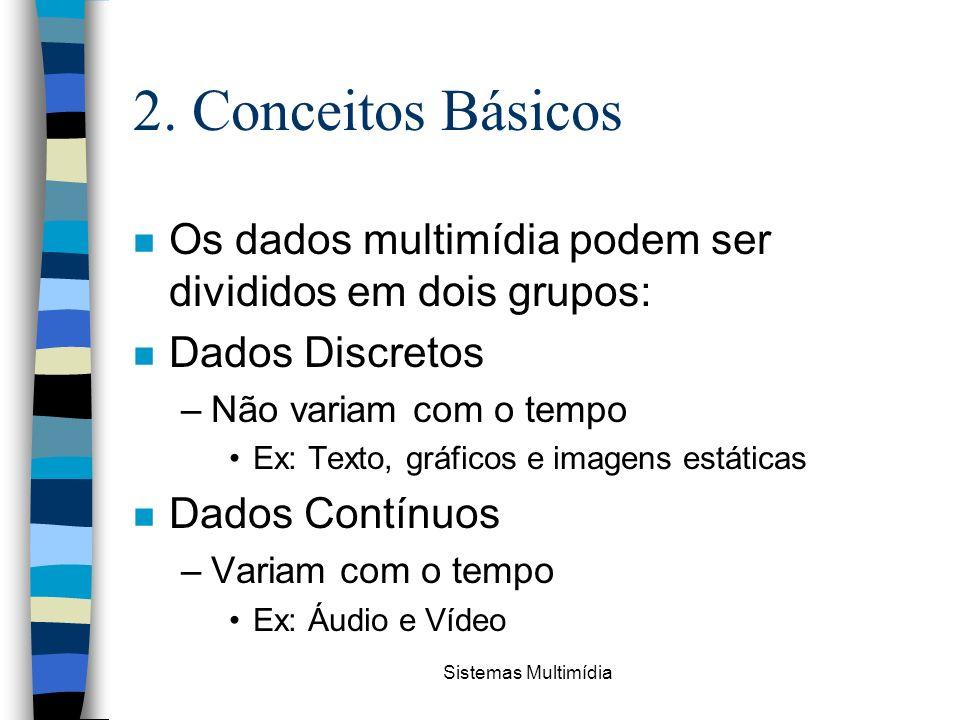 2. Conceitos Básicos Os dados multimídia podem ser divididos em dois grupos: Dados Discretos. Não variam com o tempo.