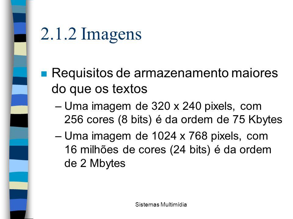 2.1.2 Imagens Requisitos de armazenamento maiores do que os textos