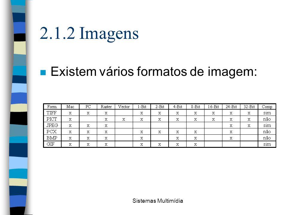 2.1.2 Imagens Existem vários formatos de imagem: Sistemas Multimídia