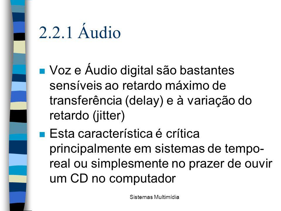 2.2.1 Áudio Voz e Áudio digital são bastantes sensíveis ao retardo máximo de transferência (delay) e à variação do retardo (jitter)