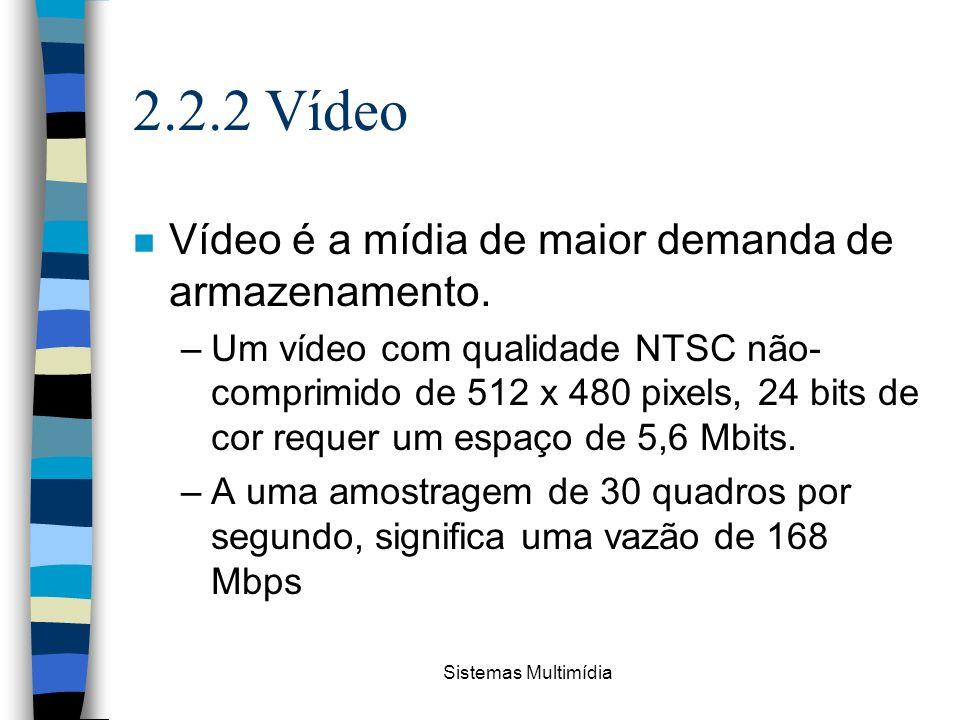 2.2.2 Vídeo Vídeo é a mídia de maior demanda de armazenamento.
