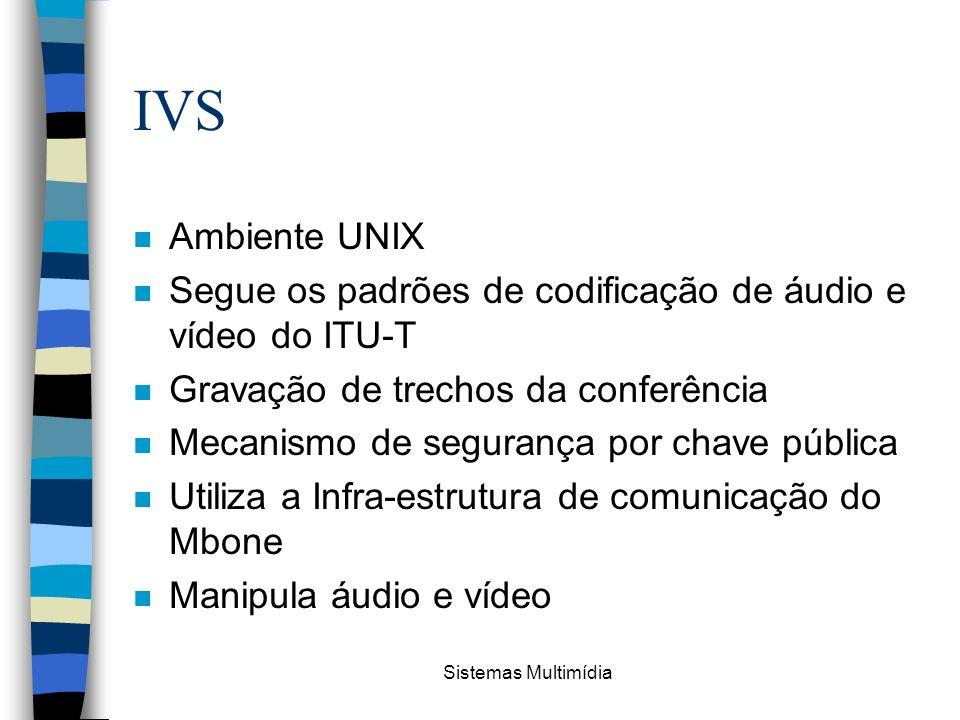 IVS Ambiente UNIX. Segue os padrões de codificação de áudio e vídeo do ITU-T. Gravação de trechos da conferência.