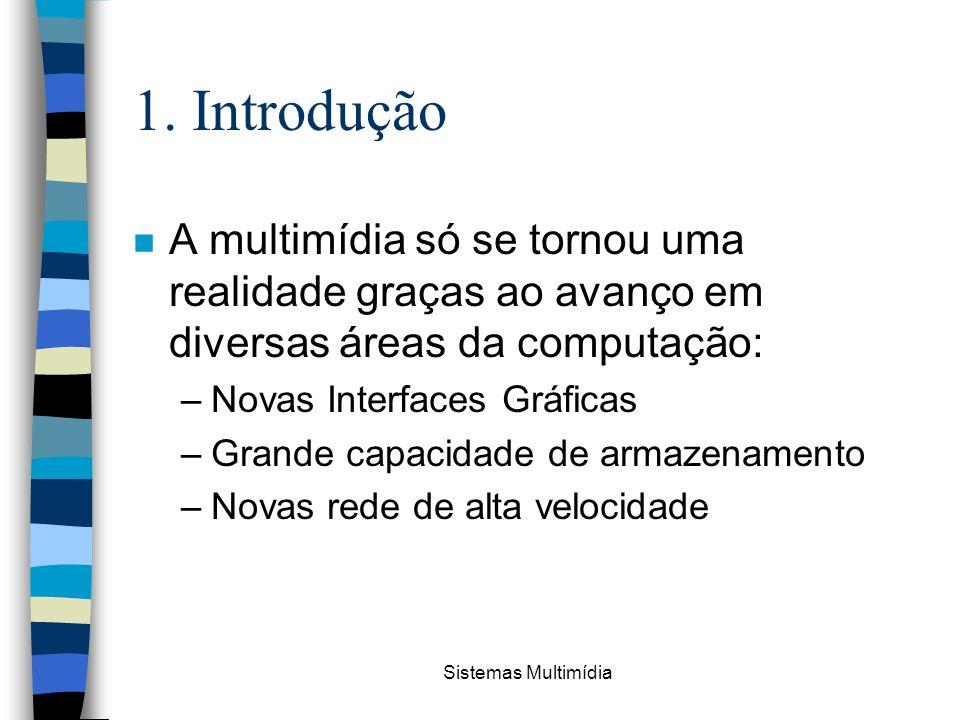 1. Introdução A multimídia só se tornou uma realidade graças ao avanço em diversas áreas da computação: