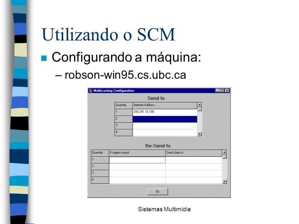 Utilizando o SCM Configurando a máquina: robson-win95.cs.ubc.ca