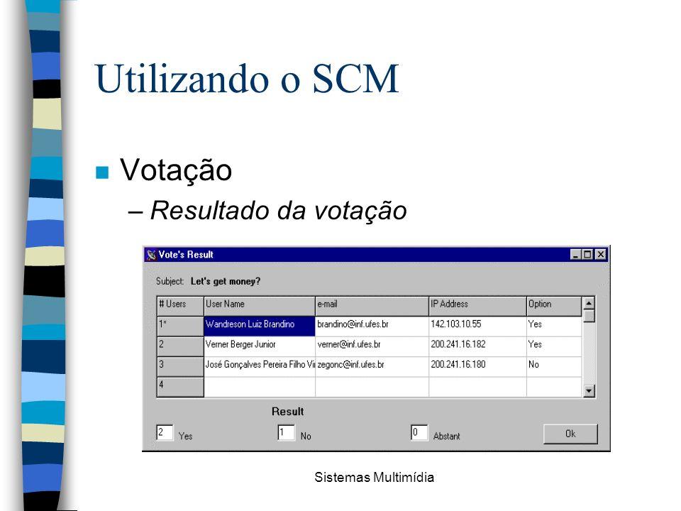 Utilizando o SCM Votação Resultado da votação Sistemas Multimídia