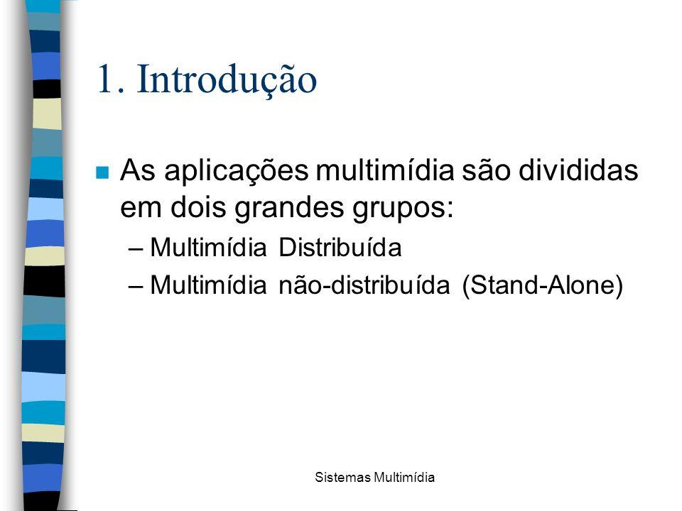 1. Introdução As aplicações multimídia são divididas em dois grandes grupos: Multimídia Distribuída.