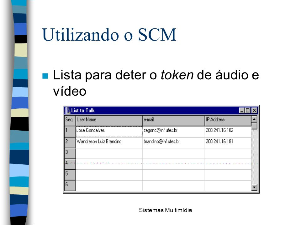 Utilizando o SCM Lista para deter o token de áudio e vídeo