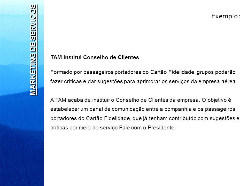 MARKETING DE SERVIÇOS Exemplo: TAM institui Conselho de Clientes