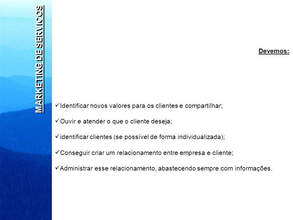 MARKETING DE SERVIÇOS Devemos: