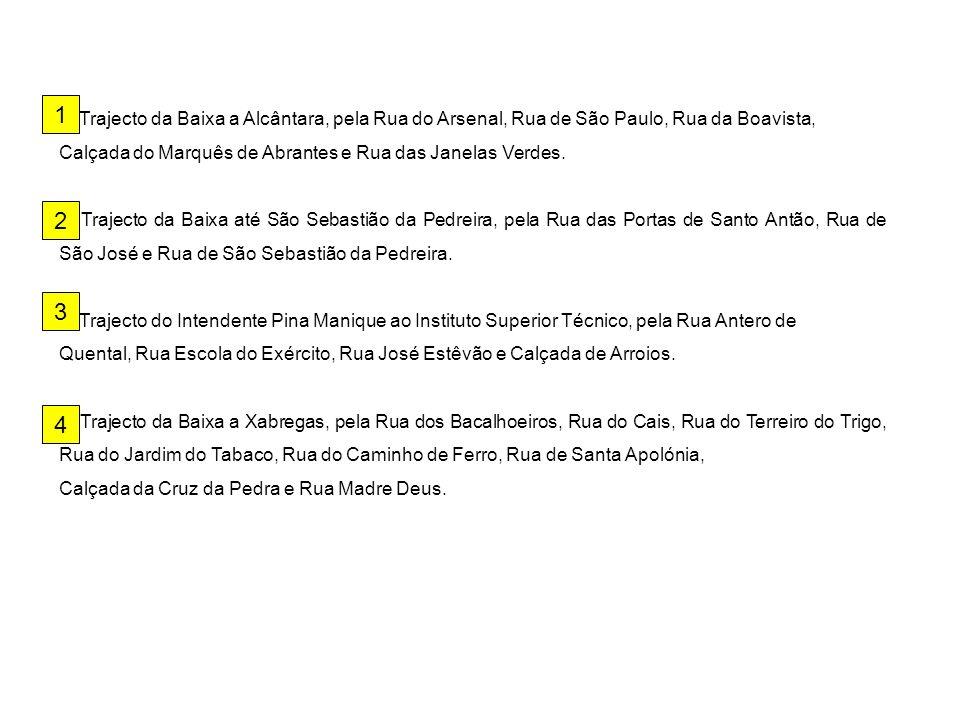 1 1. Trajecto da Baixa a Alcântara, pela Rua do Arsenal, Rua de São Paulo, Rua da Boavista, Calçada do Marquês de Abrantes e Rua das Janelas Verdes.