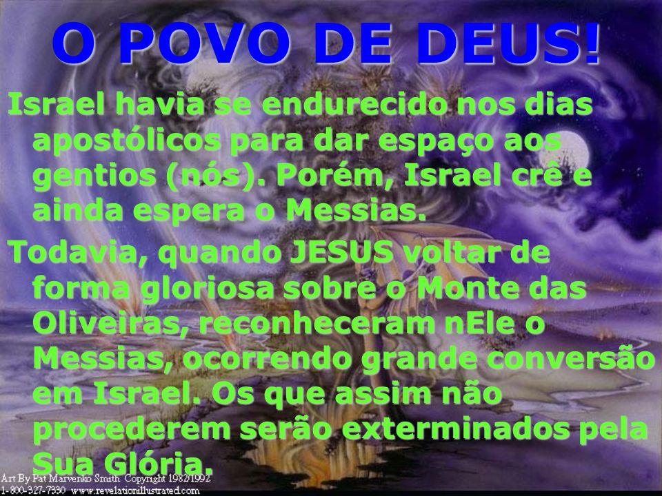 O POVO DE DEUS!Israel havia se endurecido nos dias apostólicos para dar espaço aos gentios (nós). Porém, Israel crê e ainda espera o Messias.