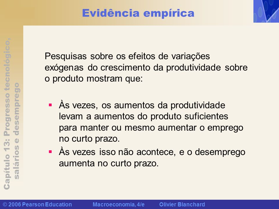 Evidência empíricaPesquisas sobre os efeitos de variações exógenas do crescimento da produtividade sobre o produto mostram que: