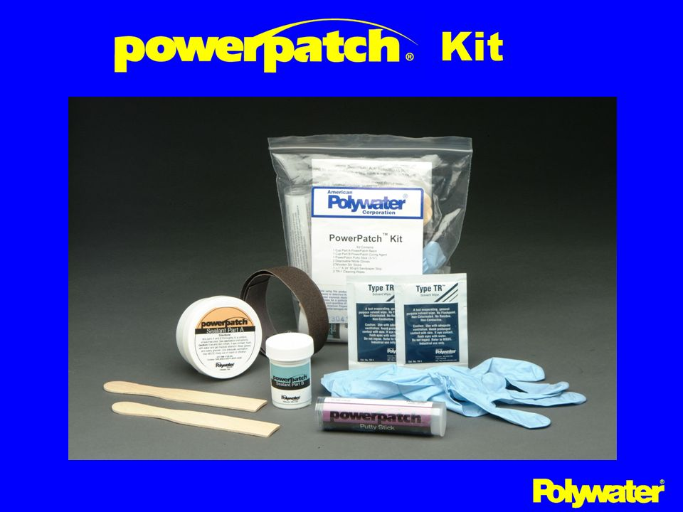 KitThe PowerPatch™ product comes as a kit with everything needed to make a field repair. A two-part putty is first used to stop the oil seepage.
