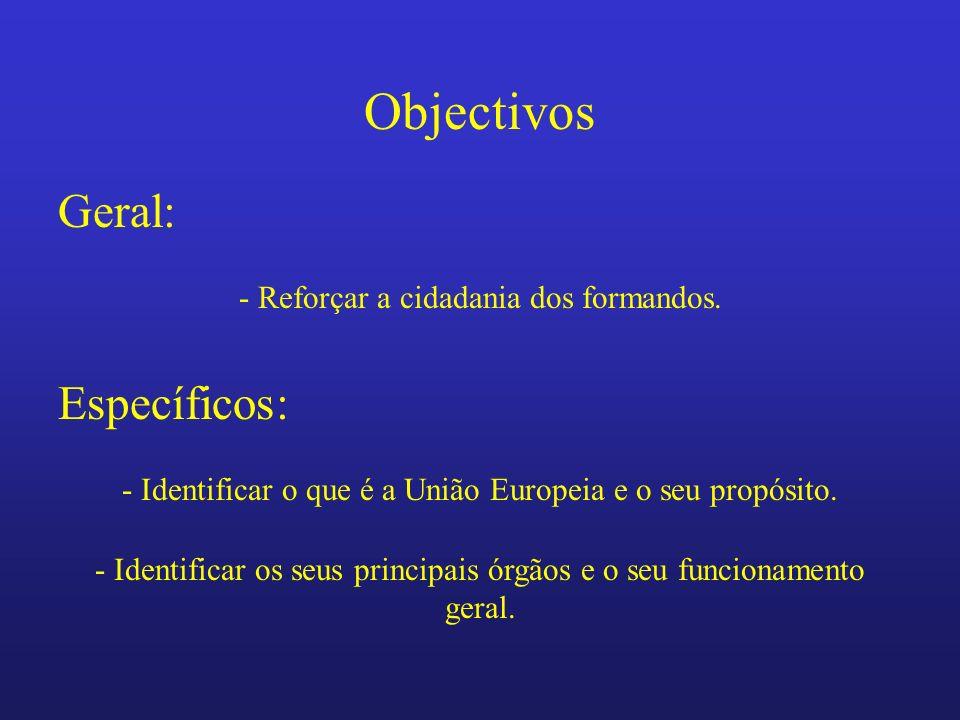 Objectivos Geral: Específicos: - Reforçar a cidadania dos formandos.