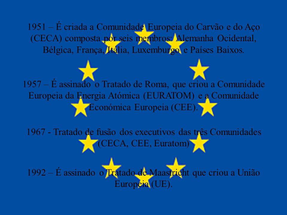 1951 – É criada a Comunidade Europeia do Carvão e do Aço (CECA) composta por seis membros: Alemanha Ocidental, Bélgica, França, Itália, Luxemburgo e Países Baixos.