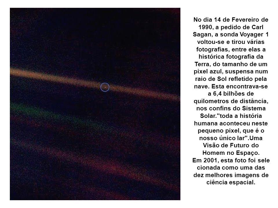 Pálido Ponto Azul, a Terra vista a 6,4 bilhões de Km pela Voyager 1, um pixel azul