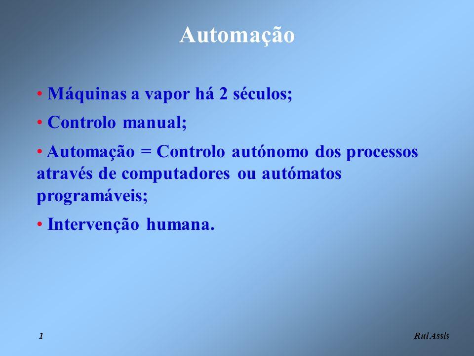Automação Máquinas a vapor há 2 séculos; Controlo manual;