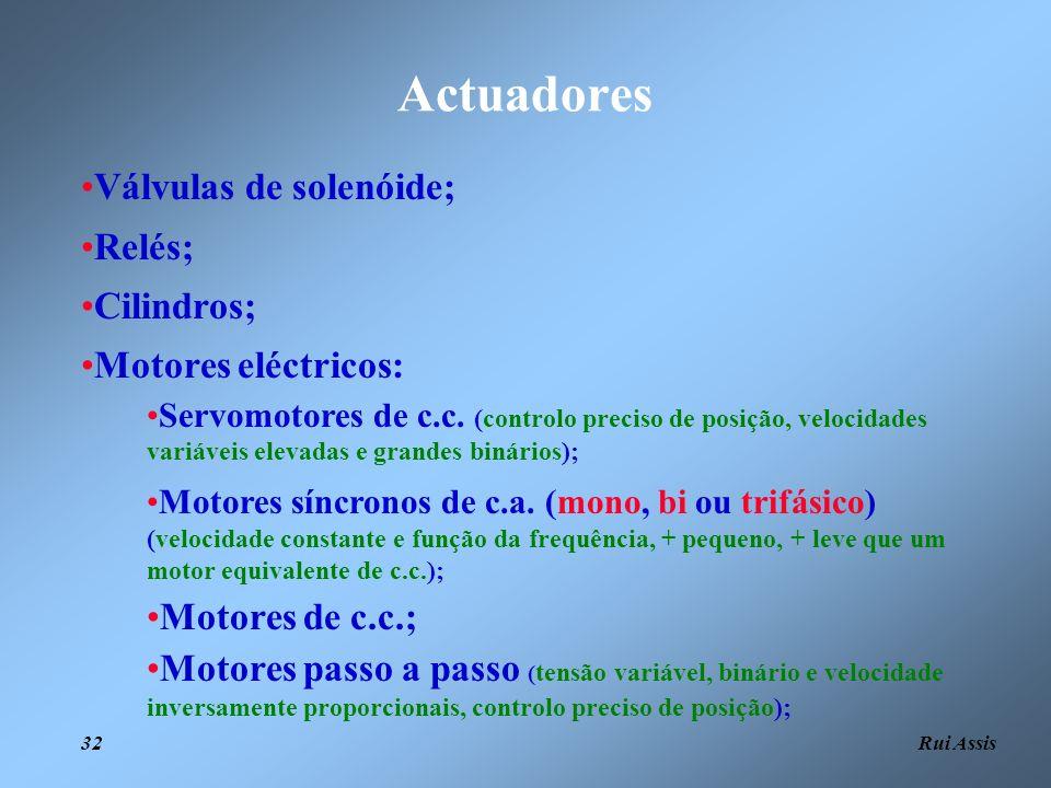 Actuadores Válvulas de solenóide; Relés; Cilindros;