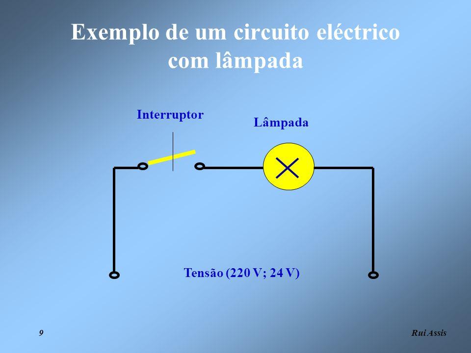 Exemplo de um circuito eléctrico com lâmpada