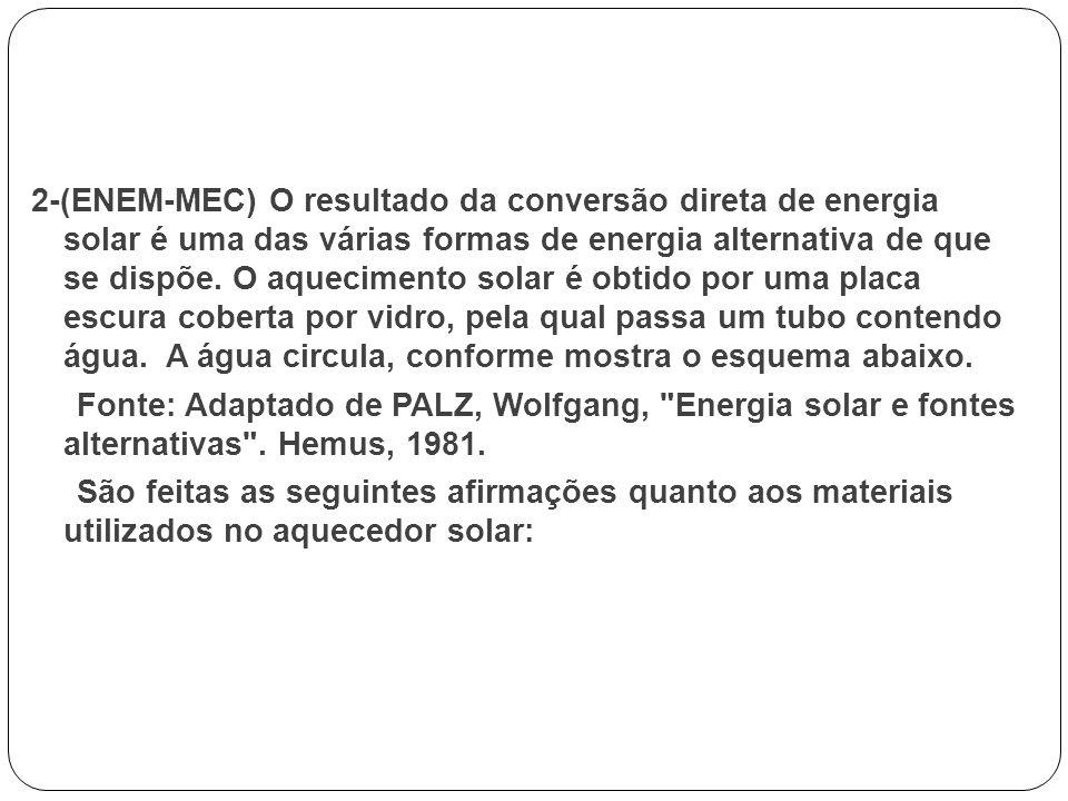 2-(ENEM-MEC) O resultado da conversão direta de energia solar é uma das várias formas de energia alternativa de que se dispõe.