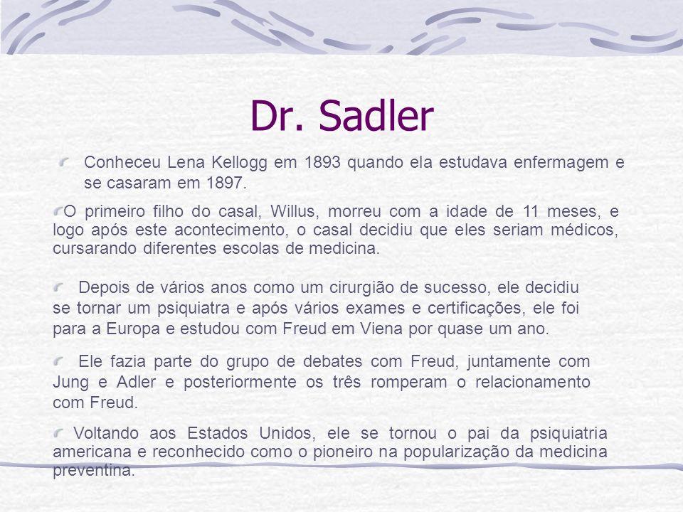 Dr. Sadler Conheceu Lena Kellogg em 1893 quando ela estudava enfermagem e se casaram em 1897.