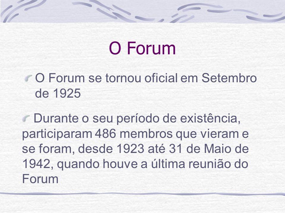 O Forum O Forum se tornou oficial em Setembro de 1925
