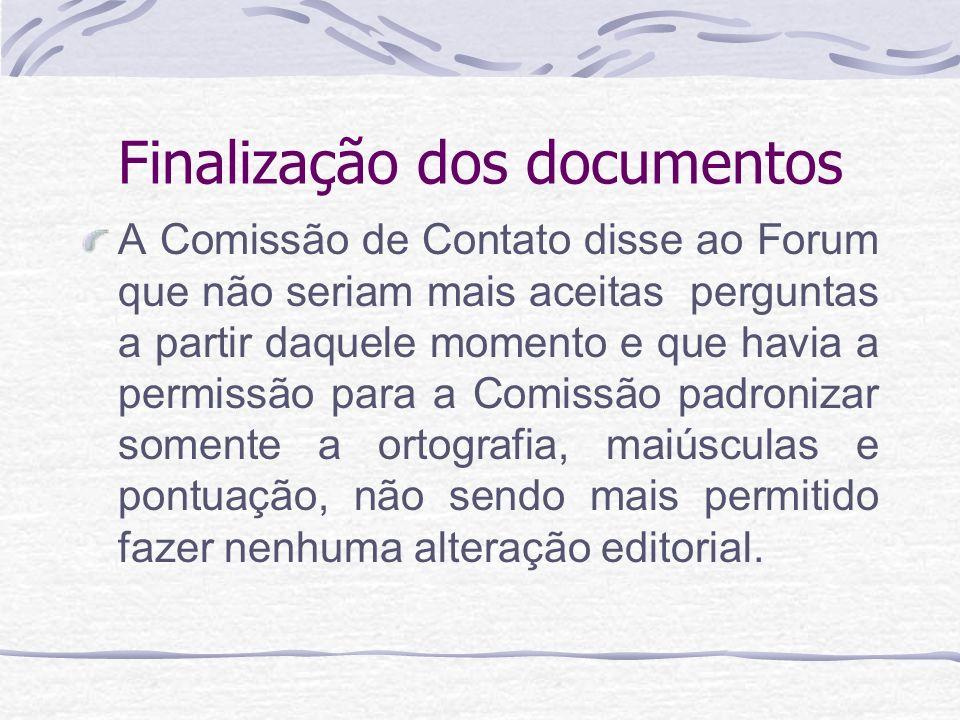 Finalização dos documentos