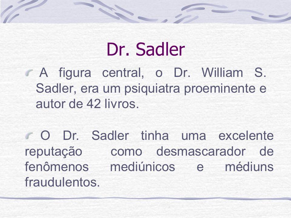 Dr. SadlerA figura central, o Dr. William S. Sadler, era um psiquiatra proeminente e autor de 42 livros.