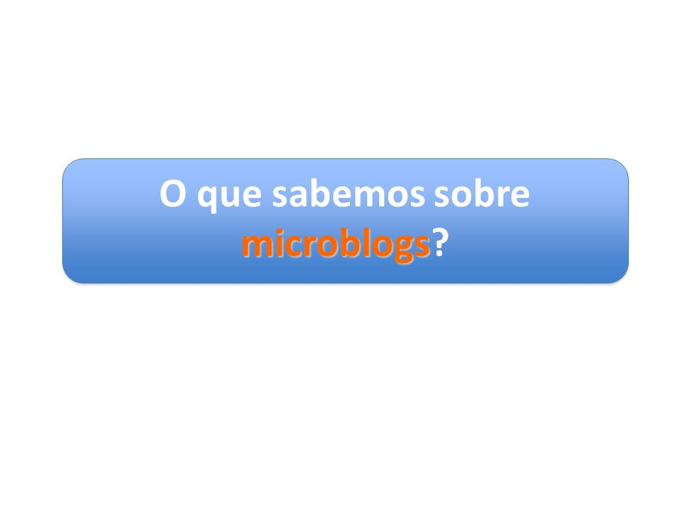 O que sabemos sobre microblogs