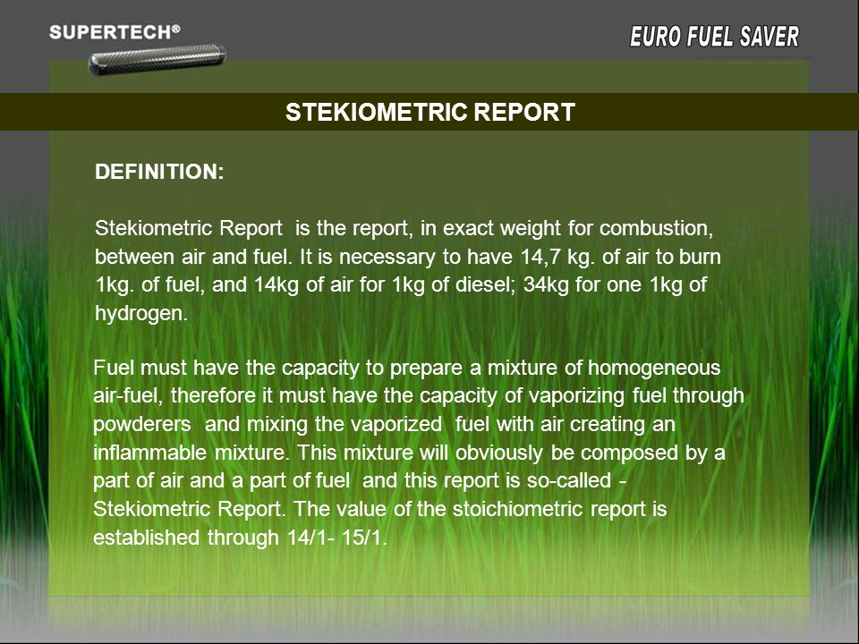 STEKIOMETRIC REPORT DEFINITION: