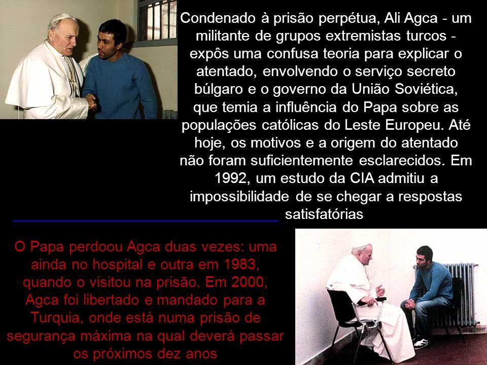Condenado à prisão perpétua, Ali Agca - um militante de grupos extremistas turcos - expôs uma confusa teoria para explicar o atentado, envolvendo o serviço secreto búlgaro e o governo da União Soviética, que temia a influência do Papa sobre as populações católicas do Leste Europeu. Até hoje, os motivos e a origem do atentado não foram suficientemente esclarecidos. Em 1992, um estudo da CIA admitiu a impossibilidade de se chegar a respostas satisfatórias.