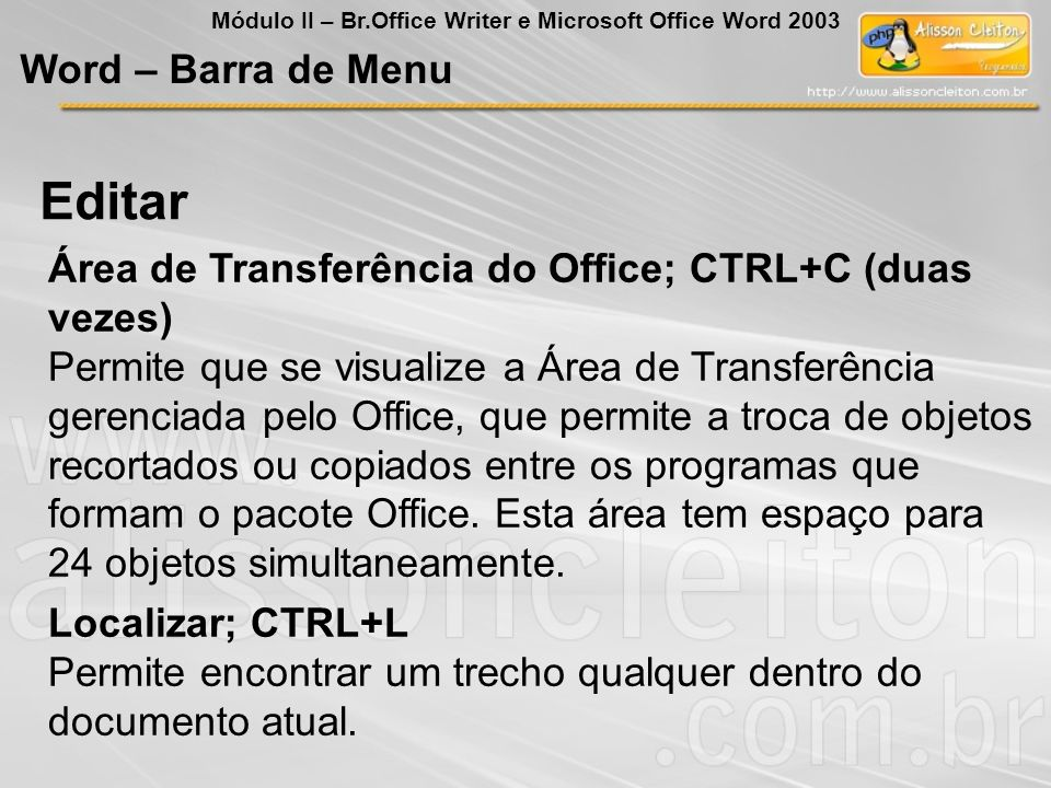 Editar Word – Barra de Menu