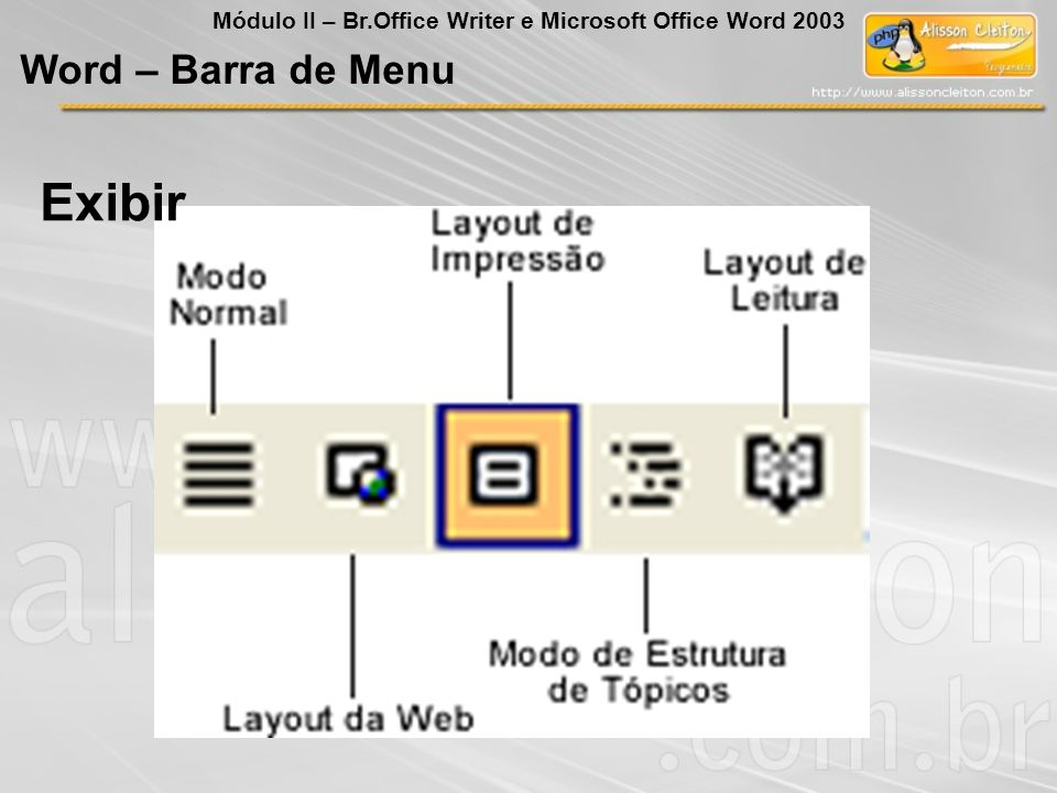 Exibir Word – Barra de Menu