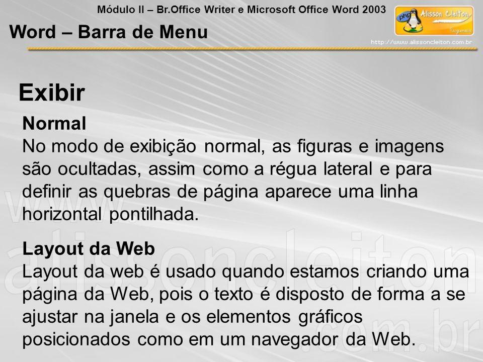 Exibir Word – Barra de Menu Normal
