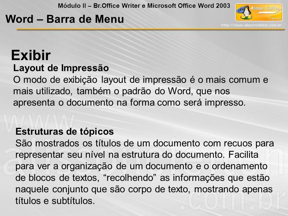Exibir Word – Barra de Menu Layout de Impressão